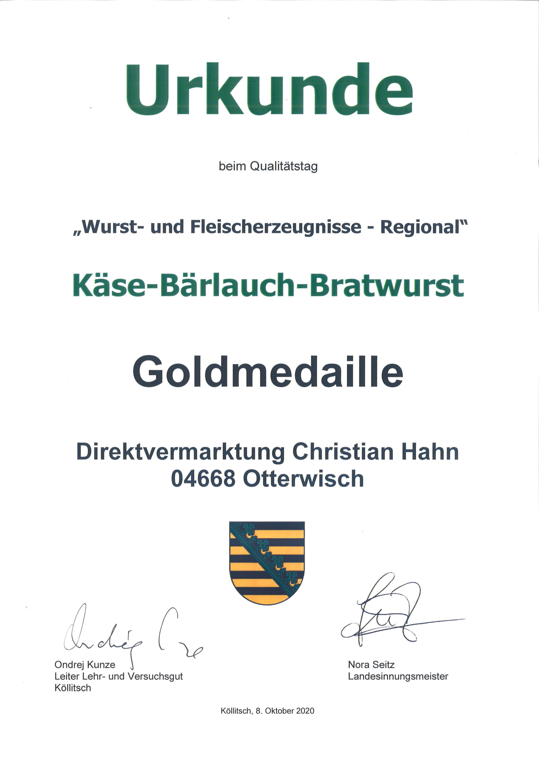 Käse-Bärlauch-Bratwurst Goldmedallie