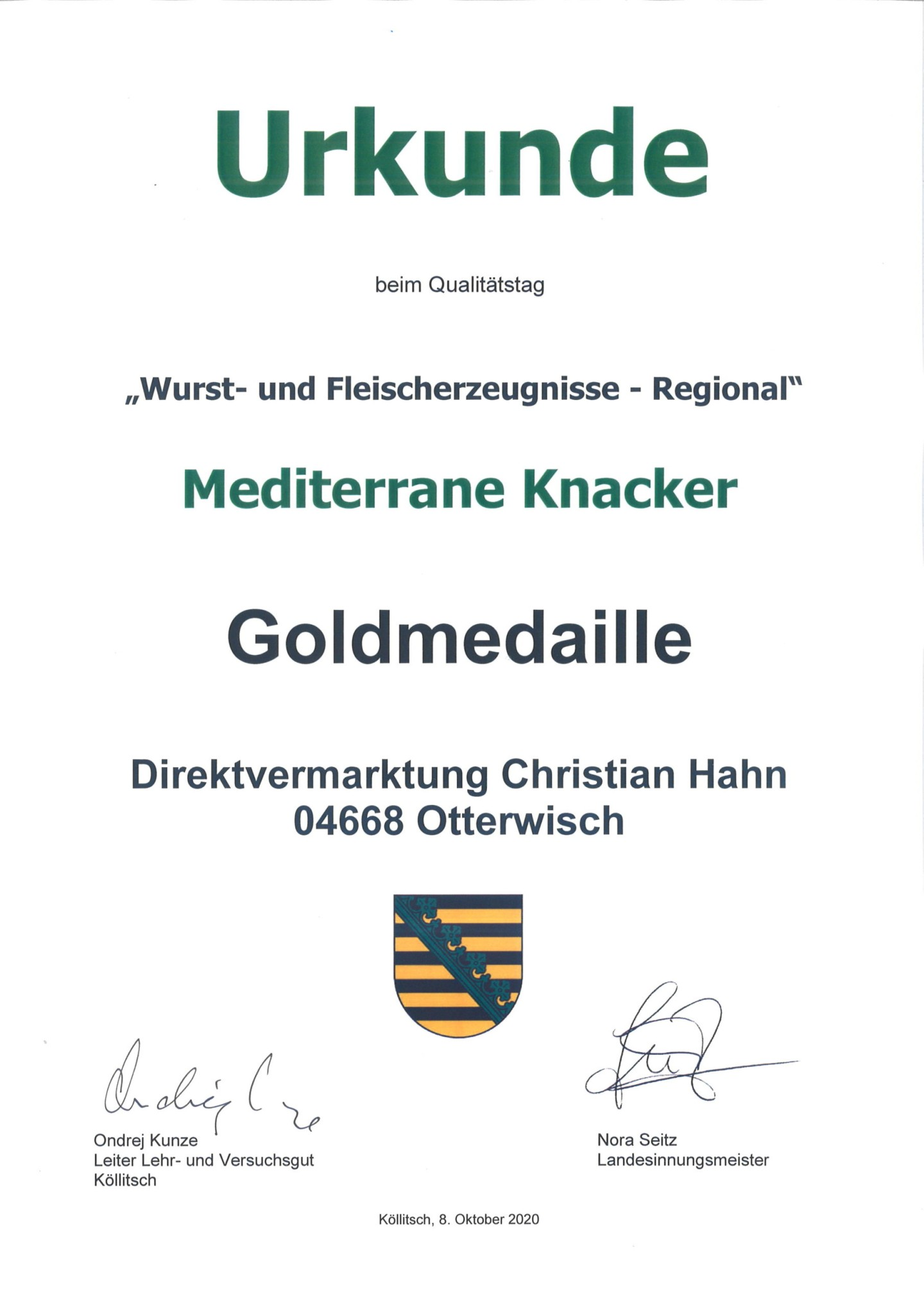 Mediterrane Knacker Goldmedaille