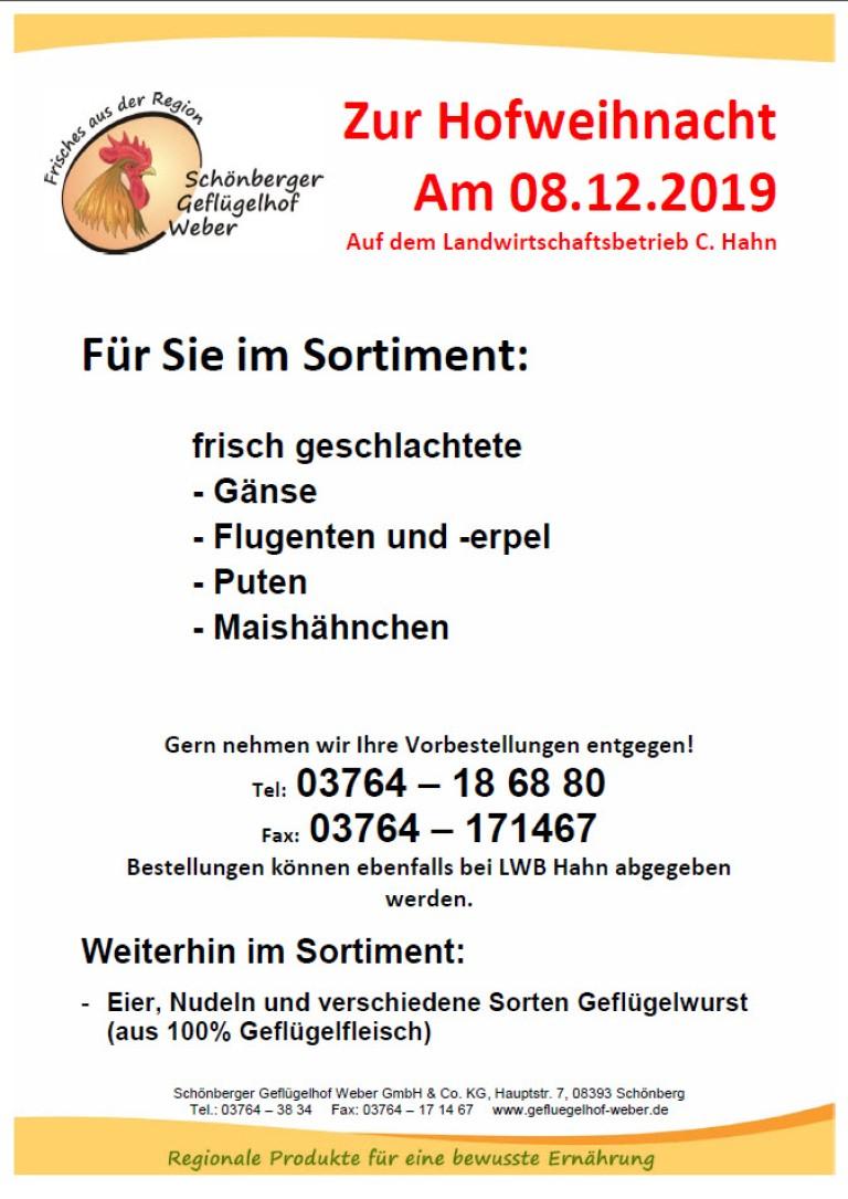 Plakat Geflügel Weber Hofweinacht 08.12.